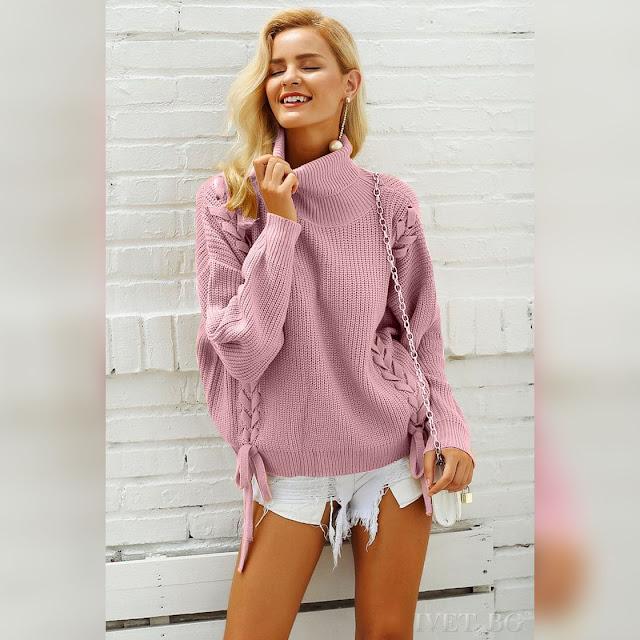 Μοντέρνο ροζ γυναικείο πουλόβερ LILAC PINK