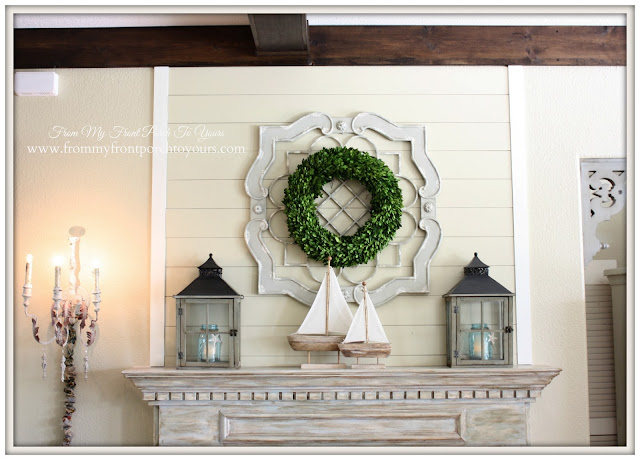 Simple Nautical Fireplace Mantel Display-Farmhouse Style- From My Front Porch To Yours