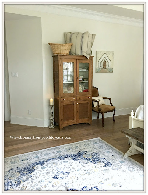 master bedroom makeover-French Farmhouse-Farmhouse Style-Vintage Pie Safe-French Chair-from my front porch to yours