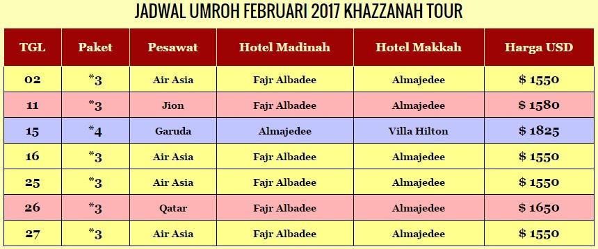 jadwal travel umroh februari 2017