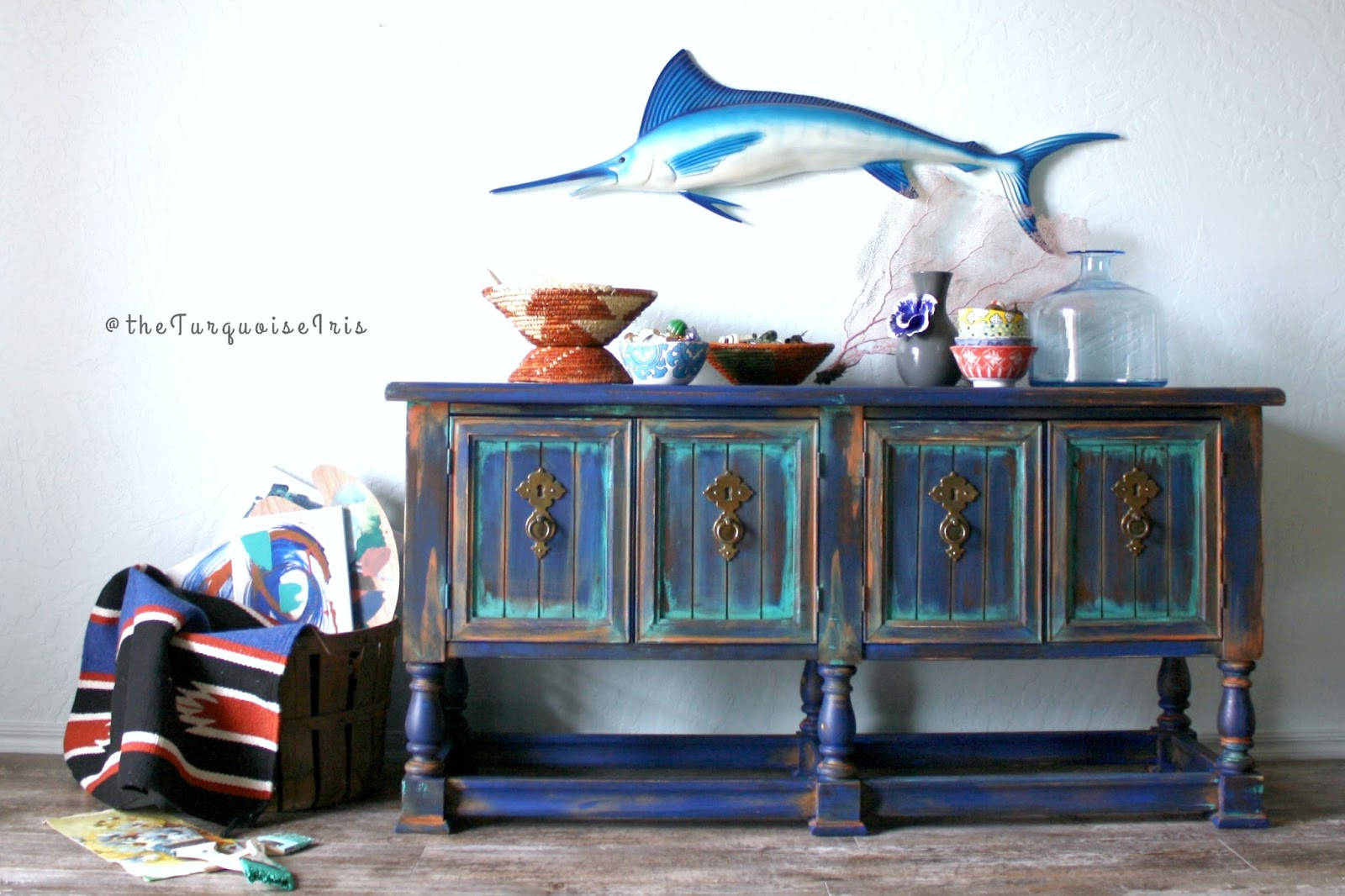 Rustic Boho Console Table Hand Painted In A Palette Of Coastal Waters