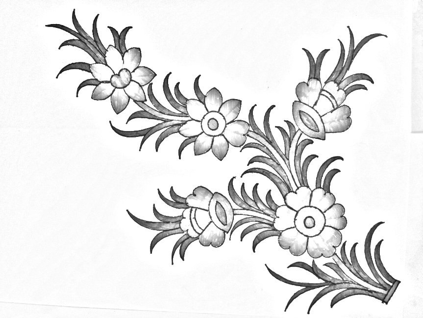 Flower Drawing For Embroidery Designs Pencil Sketches Floral