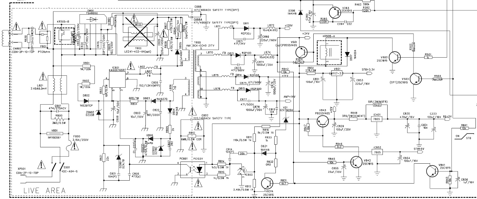 power supply circuit diagram click on schematic to zoom in [ 1600 x 670 Pixel ]