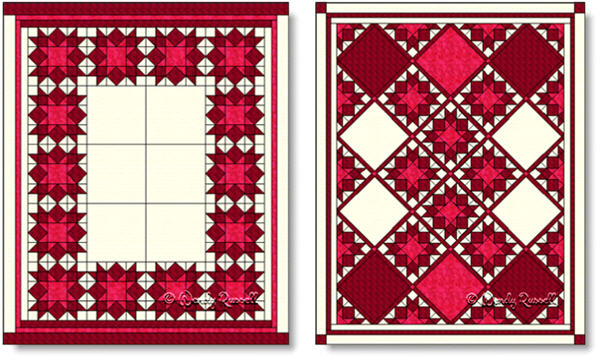 Sample quilts using the Love in the Mist quilt block - images © Wendy Russell