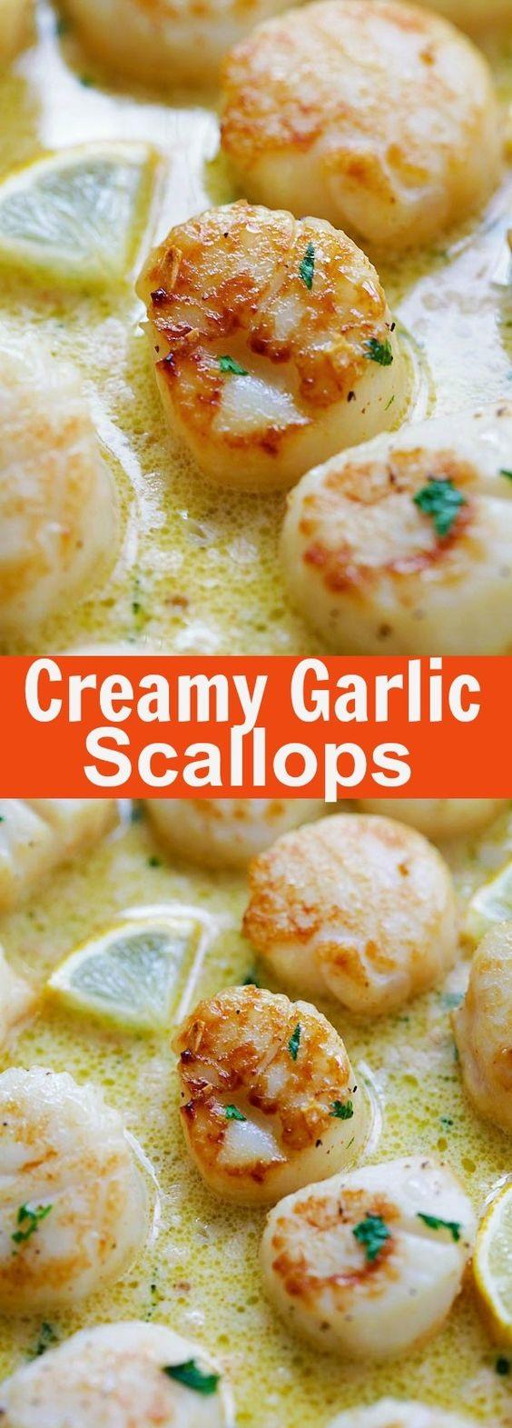 Creamy Garlic Scallops Recipe