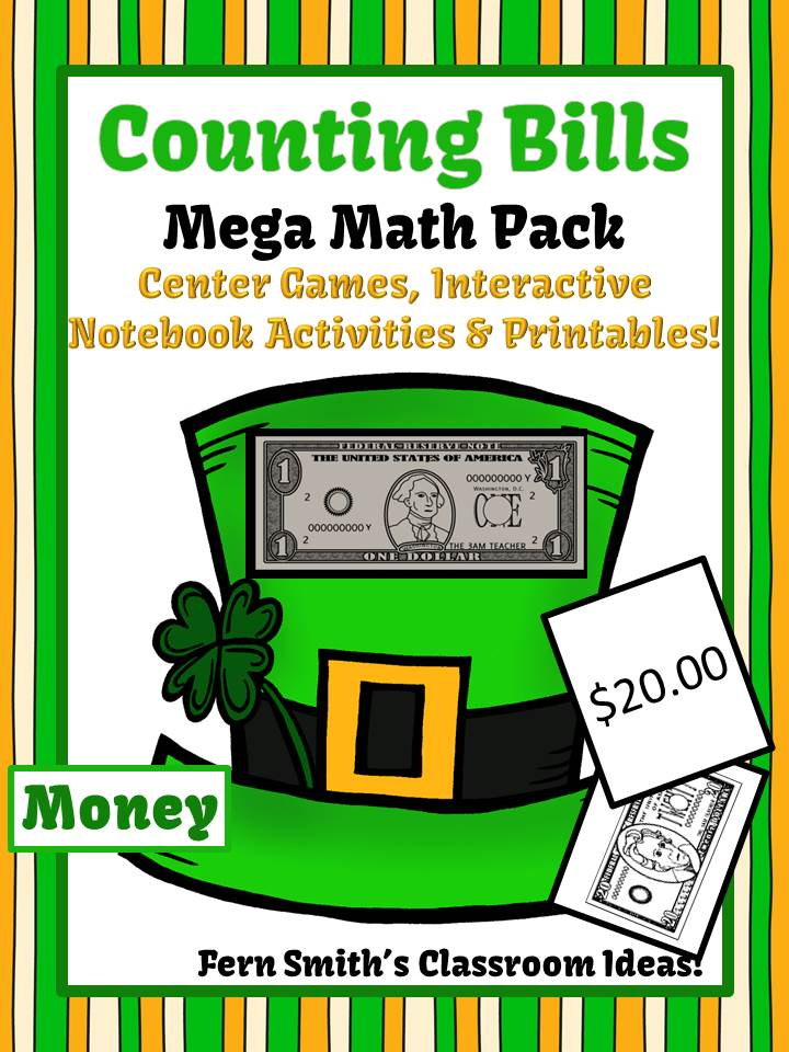 Fern Smith's Classroom Ideas St. Patrick's Day Counting Bills Math Pack Including a FREEBIE at Teachers Pay Teachers.