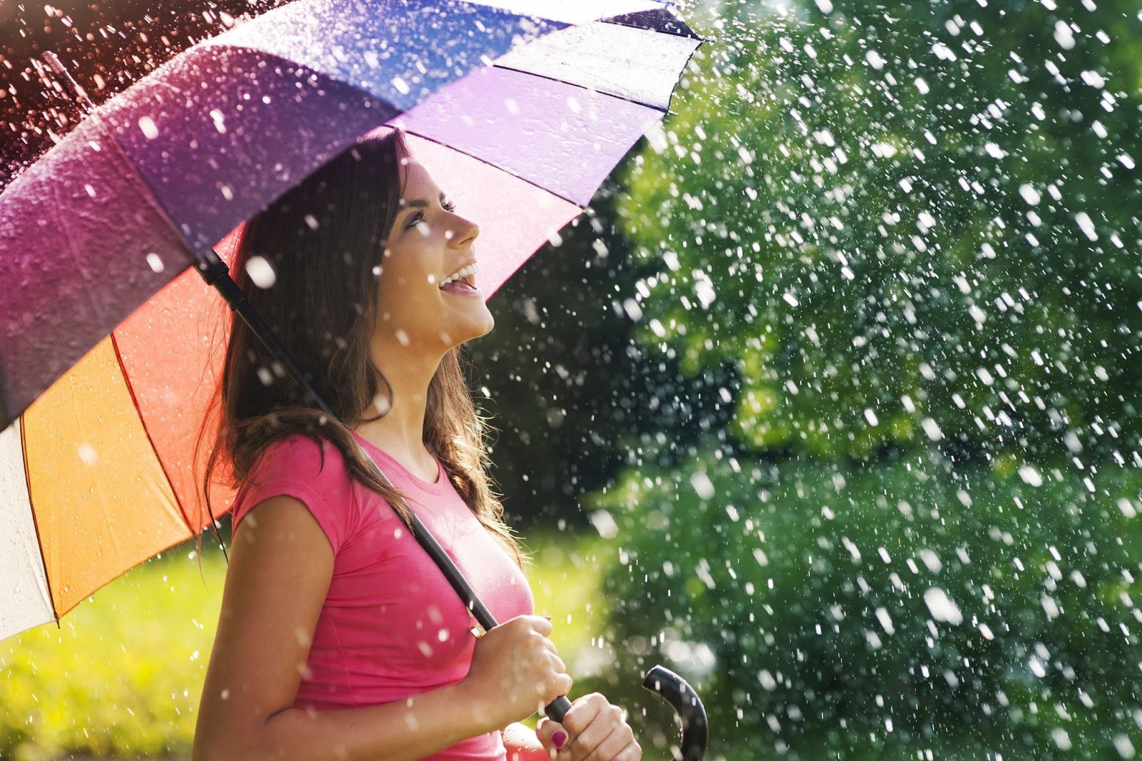girl smiling on rain whatsapp profile dp