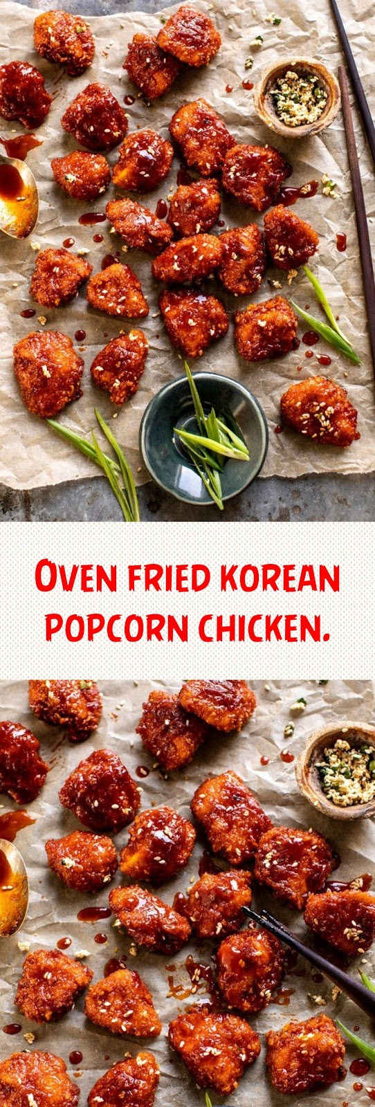 Oven fried korean popcorn chicken.