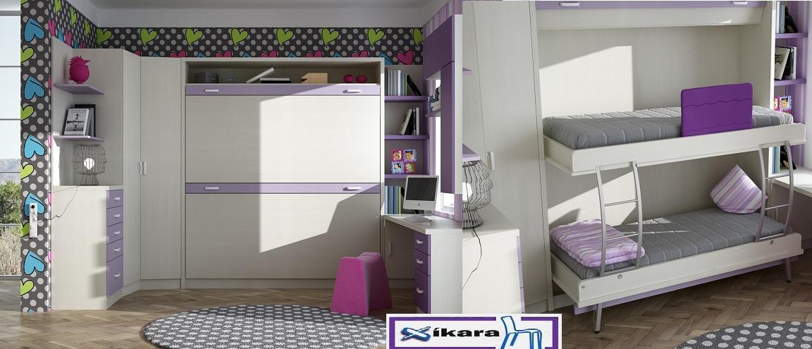 dormitorio con literas abatibles blancas