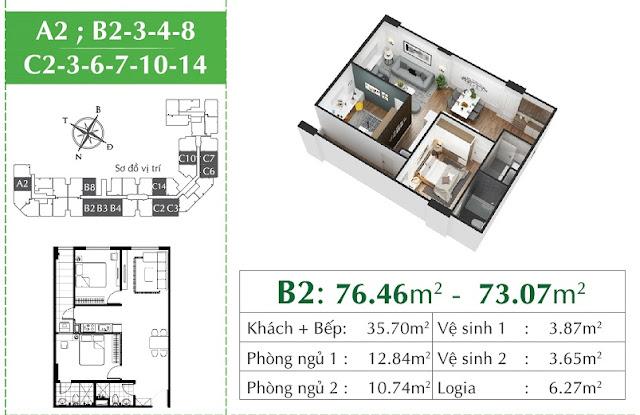 Thiết kế căn A2 Eco City Long Biên