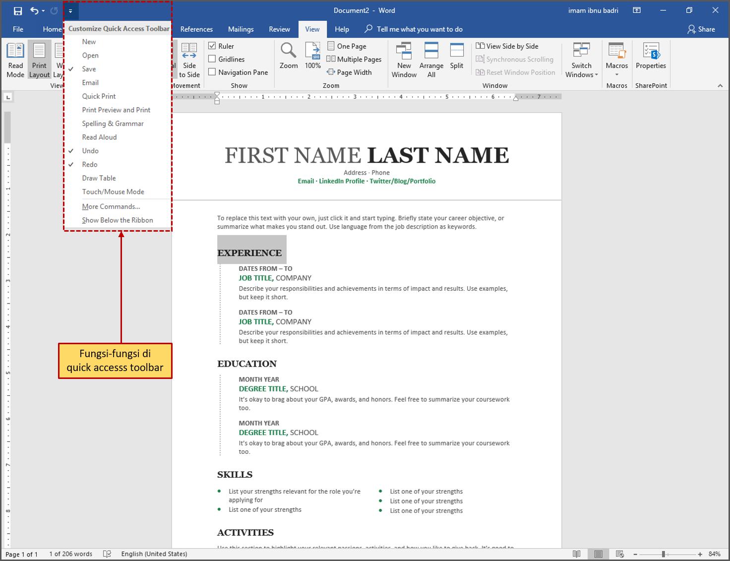 Gambar 16 Mengaktifkan Fungsi di Quick Access Toolbar