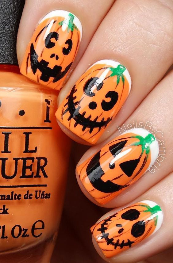 Halloween Nail Art Idea With Crazy Pumpkins