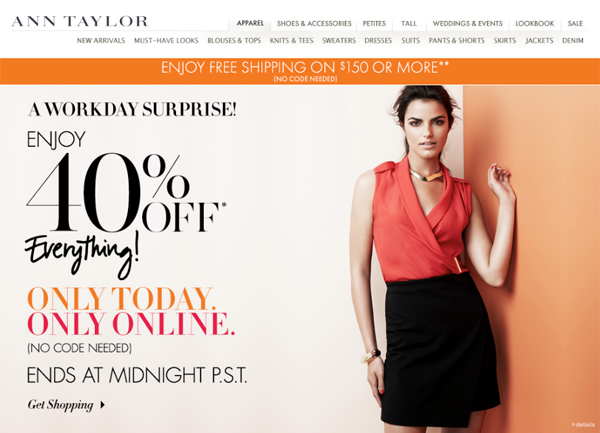 Ann Taylor 40% Off Total Purchase + Free Shipping over $150