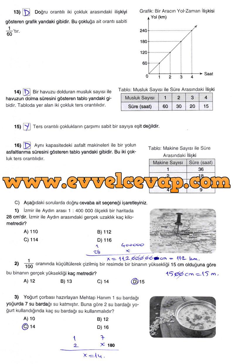 7. Sınıf Gizem Yayınları Matematik Ders Kitabı 180. Sayfa Cevapları 3. Ünite Değerlendirme Çalışmaları