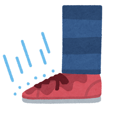 雨が染み込む靴のイラスト