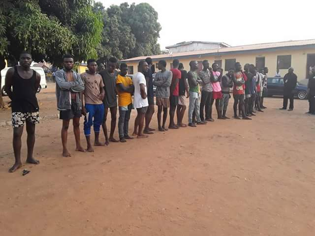 Photos: 35 suspected cultists arrested and paraded with their weapons in Benue State