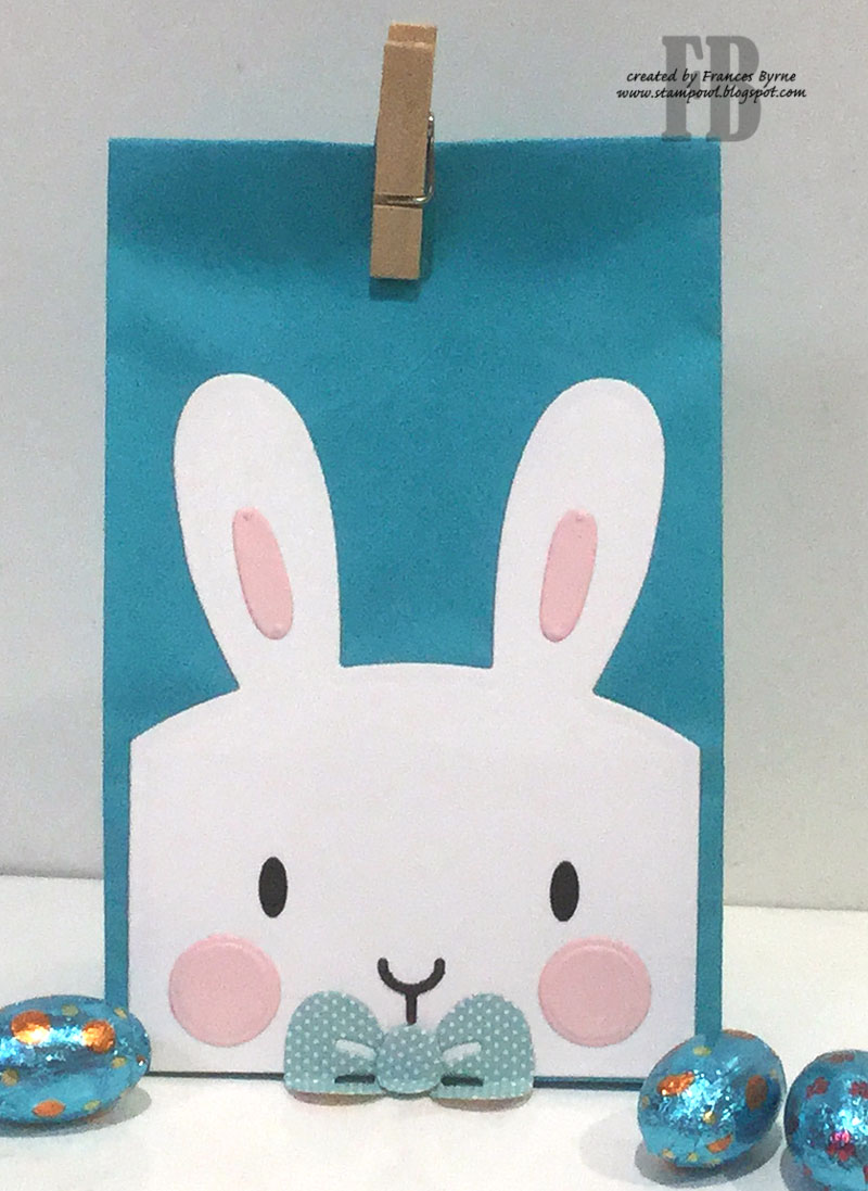 Stampowls studio happy easter bunny card and bag a close up of the little boy bunny gift bag negle Images