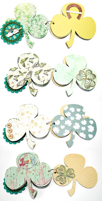Chipboard Shamrock St. Patrick's Day Mini Album Embellished Green and Gold Patterned Paper Pages