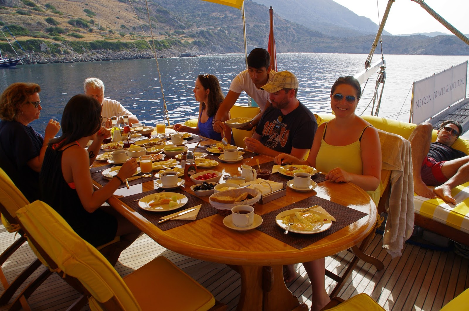 Dining in Sailing Boat Turkey