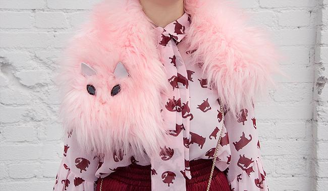 faux fur scarf, cat scarf, cleo ferin mercury