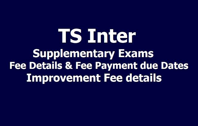 TS Inter Supplementary Exam Fee due Dates, Improvement fee details 2019