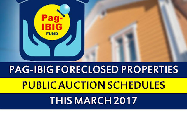 Pag IBIG fund acquired assets in Metro Manila, Bulacan, Cavite, Rizal,Laguna, Cagayan, Kalinga, Isabela, Quirino, and Nueva Vizcaya shall be for sale through public auction starting March 07, 08, 09 to March 24, 29, 2017.  So if you are looking for prime properties, condominium units, lots, house and lots, townhouse and other properties, do not miss this opportunity.