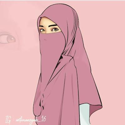 Kartun muslimah memakai cadar