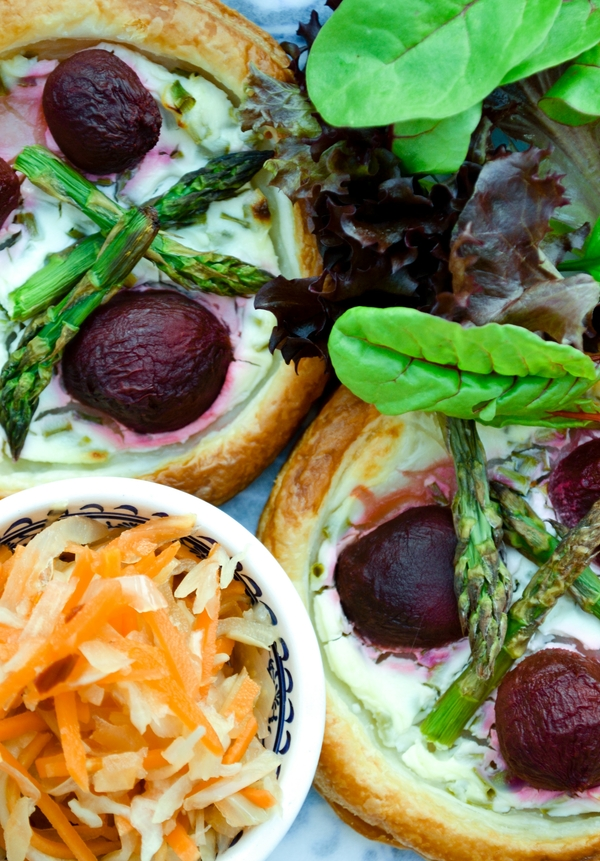 Easy Beet, Chive & Asparagus Tarts served with Spicy Slaw