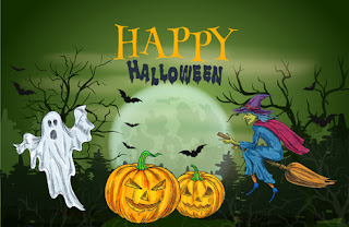Clipart image of a happy Halloween message with spooky images