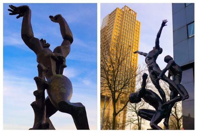 Escultura De Werwoeste Stad de Ossip Zadkine en Rotterdam - Escultura Trionf de Kes Verkade en Rotterdam