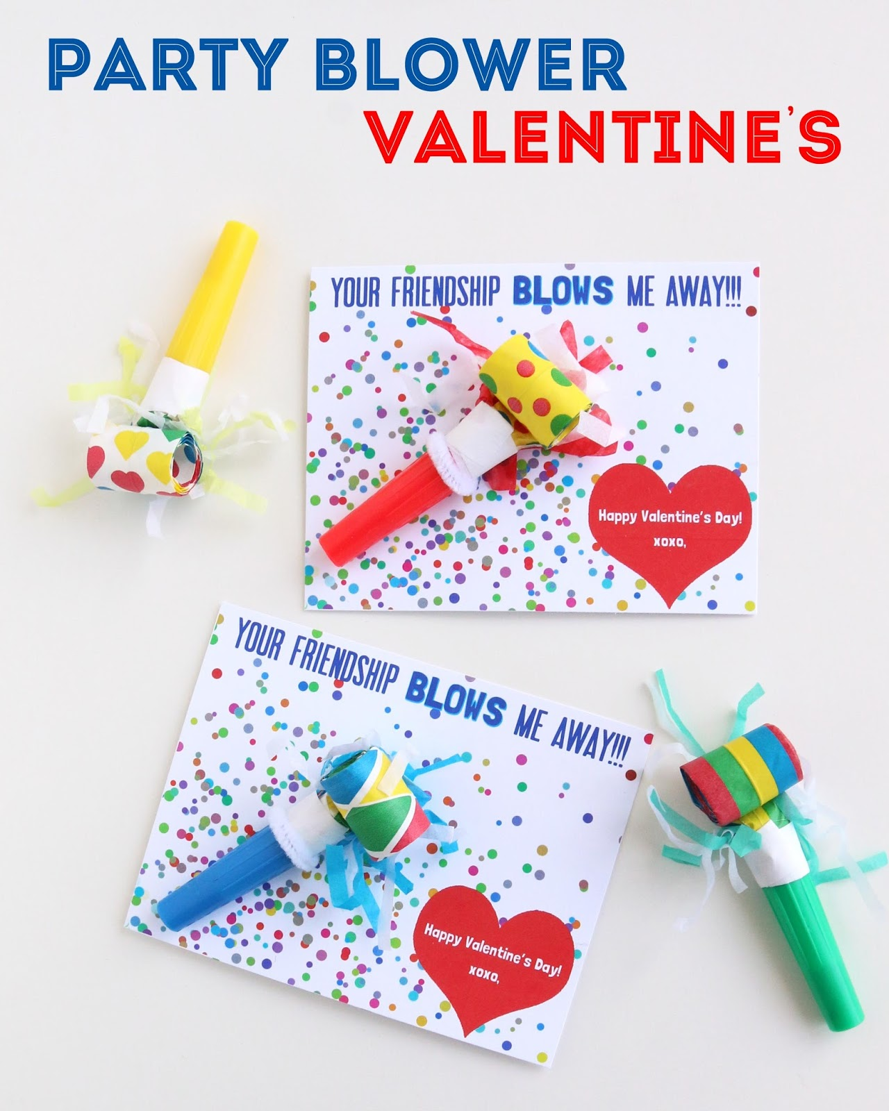 Make // Party Blower Valentine's Day Cards- Free Printable