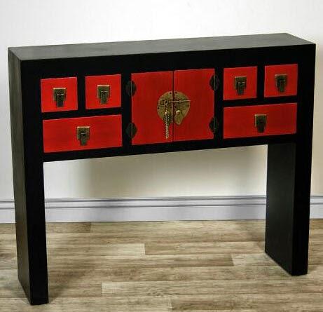 mueble recibidor oriental rojo negro
