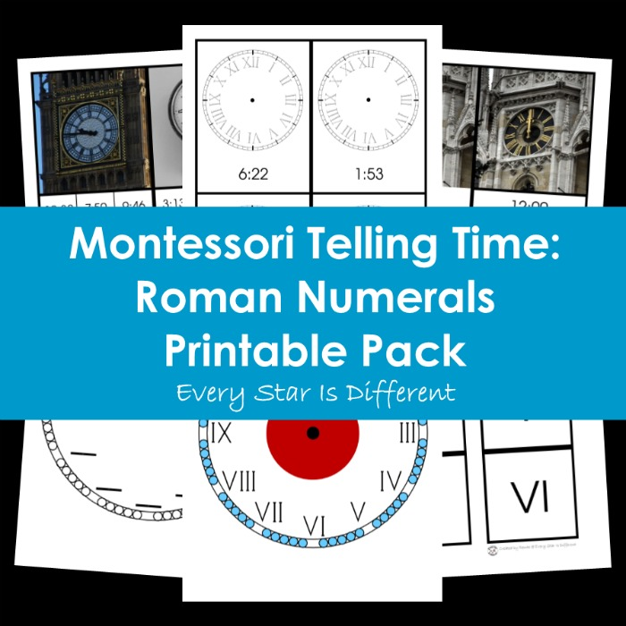 Montessori Telling Time: Roman Numerals Printable Pack