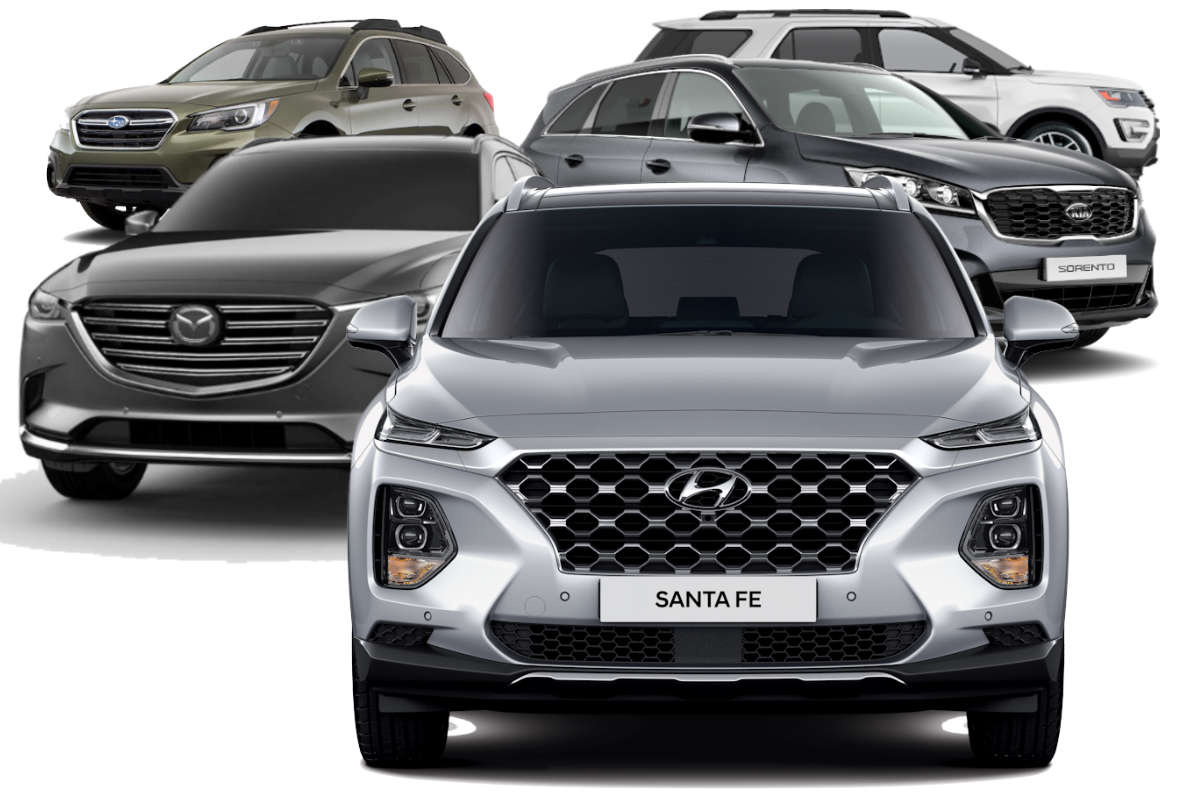 Santa Fe Ford >> 2019 Hyundai Santa Fe Vs Ford Explorer Vs Mazda Cx 9 Vs Kia