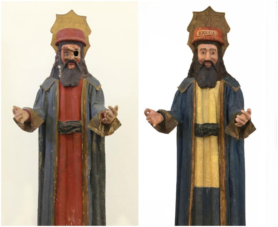 Antes y después de la intervención a José de Arimatea