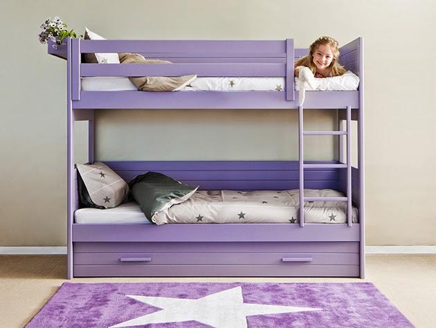 litera con 3 camas lila - Literas Para Tres
