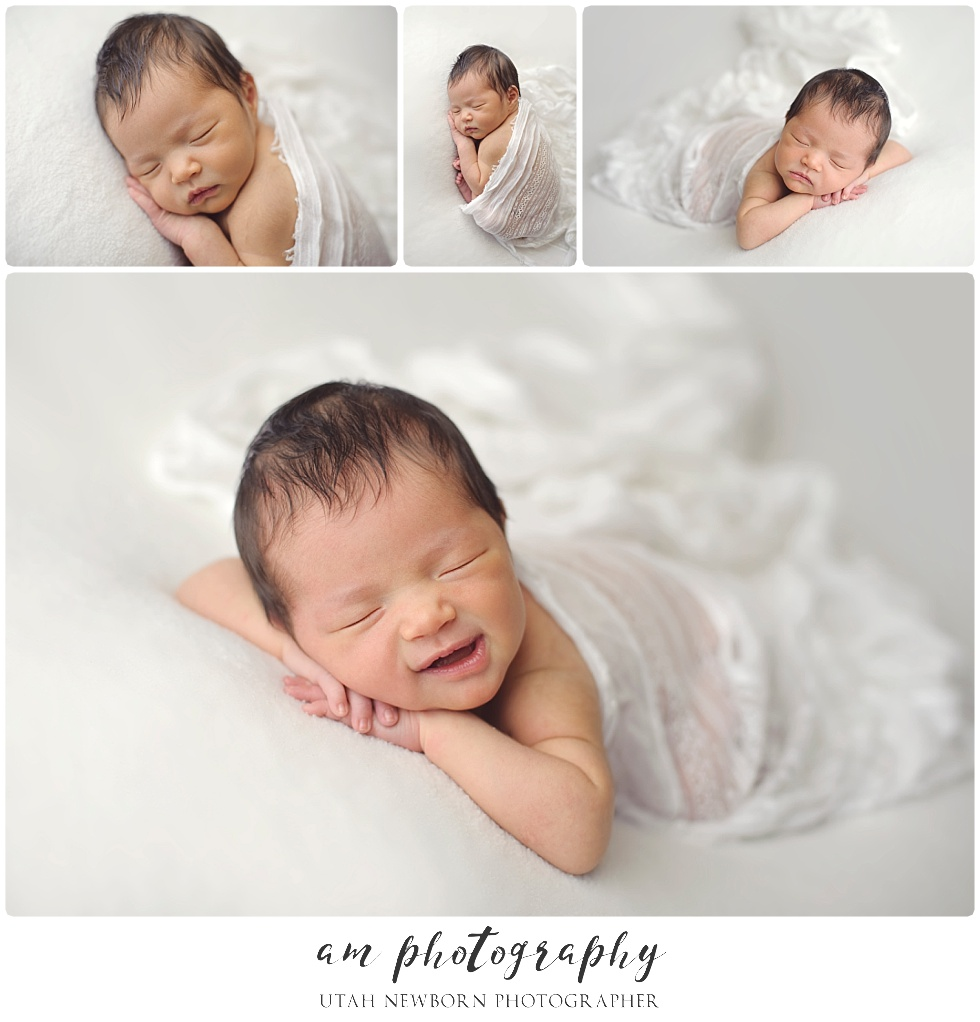 smiling newborn baby girl utah newborn photography