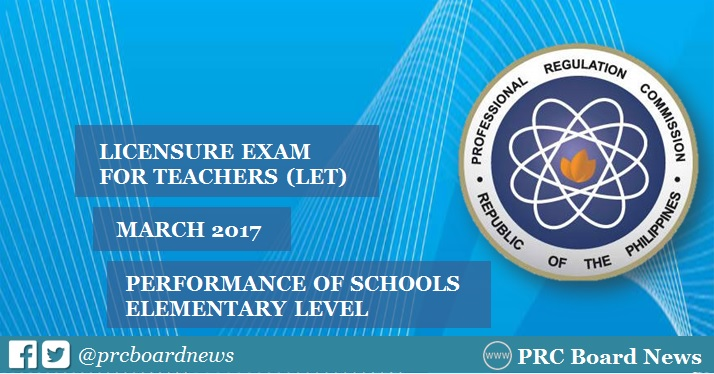 Performance of Schools: March 2017 LET Elementary