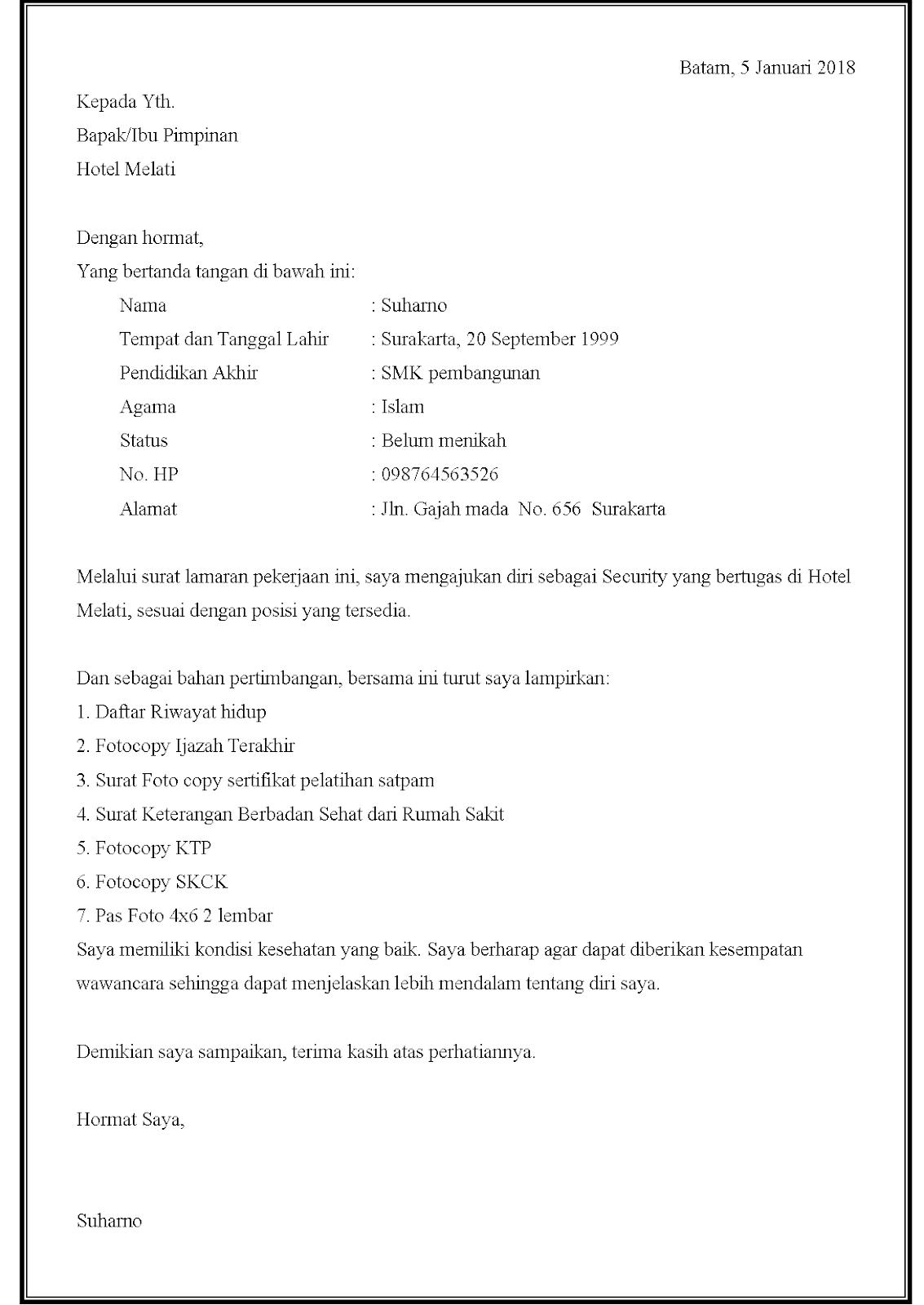 Contoh surat lamaran kerja security di hotel.
