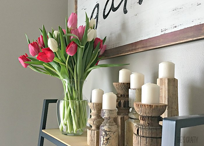 farmhouse style, fresh tulips, chippy candlesticks, vintage style