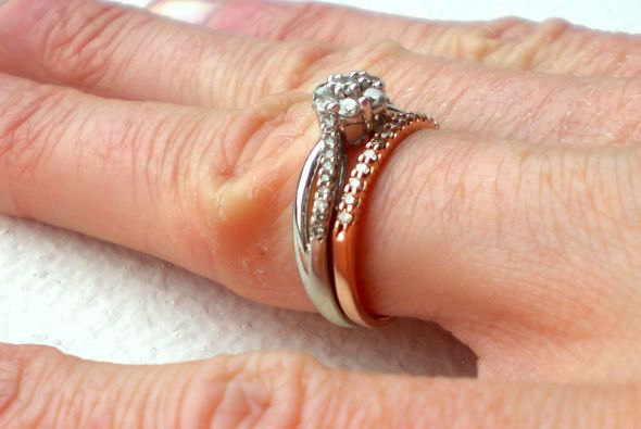 White Gold Engagement Ring And Rose Gold Wedding Band