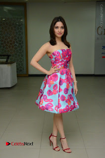 Actress Tamanna Latest Images in Floral Short Dress at Okkadochadu Movie Promotions  0147.JPG