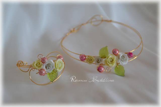 parure mariée collier et bracelet volutes