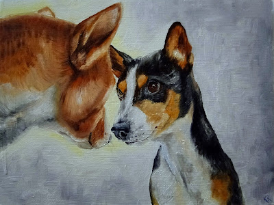 oil painting of two dogs standing nose-to-nose, a pet portrait by Karen