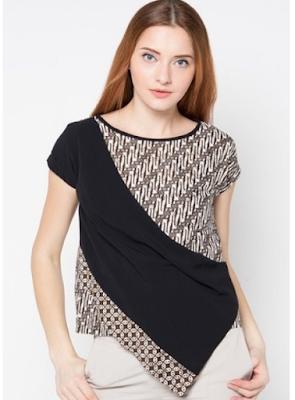 Baju Batik Kombinasi Polos Lengan Pendek