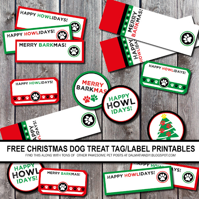 Green, red, and black DIY Christmas dog treat tags and labels