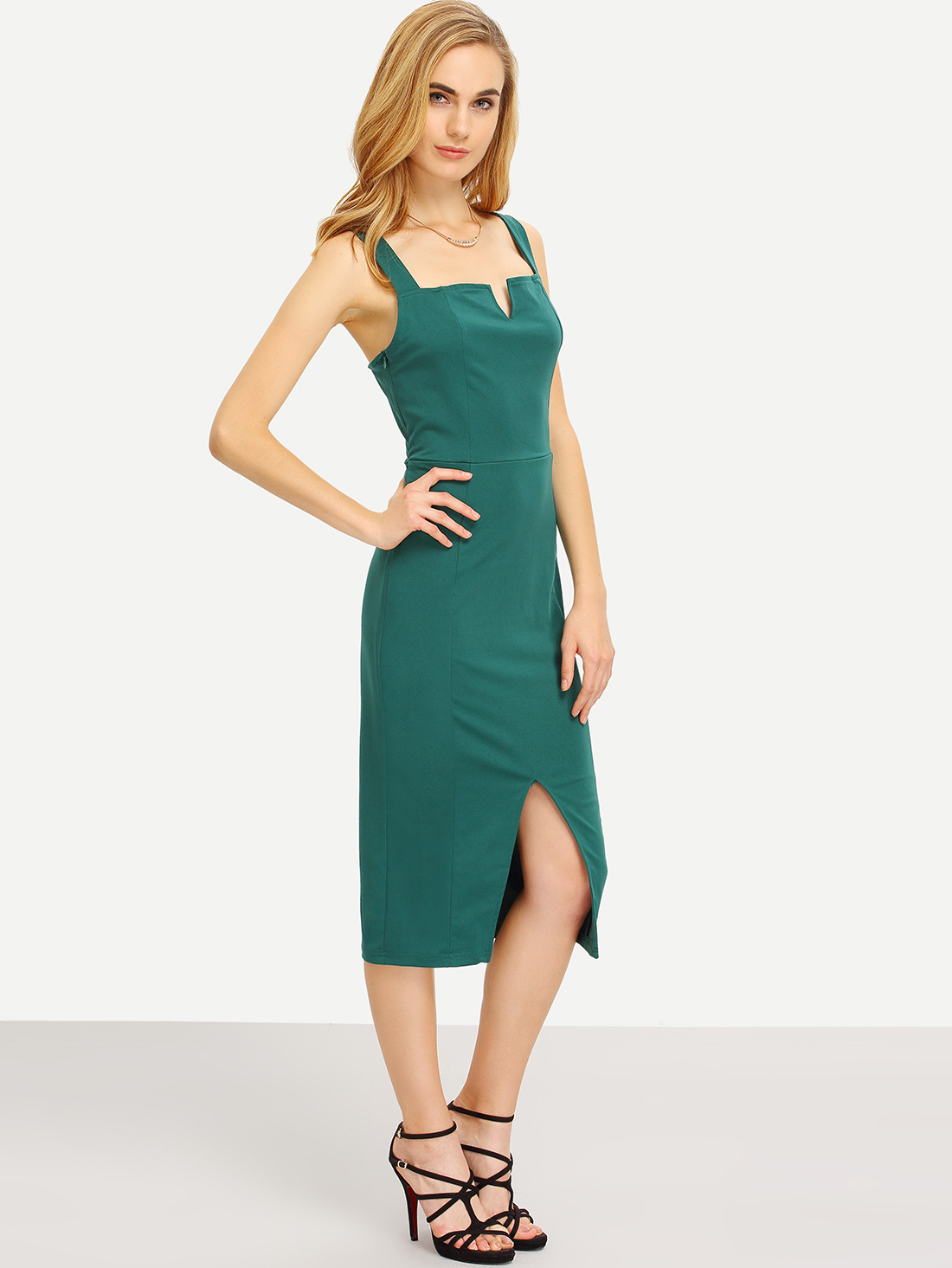 Green Strap Slit Front Sheath Dress