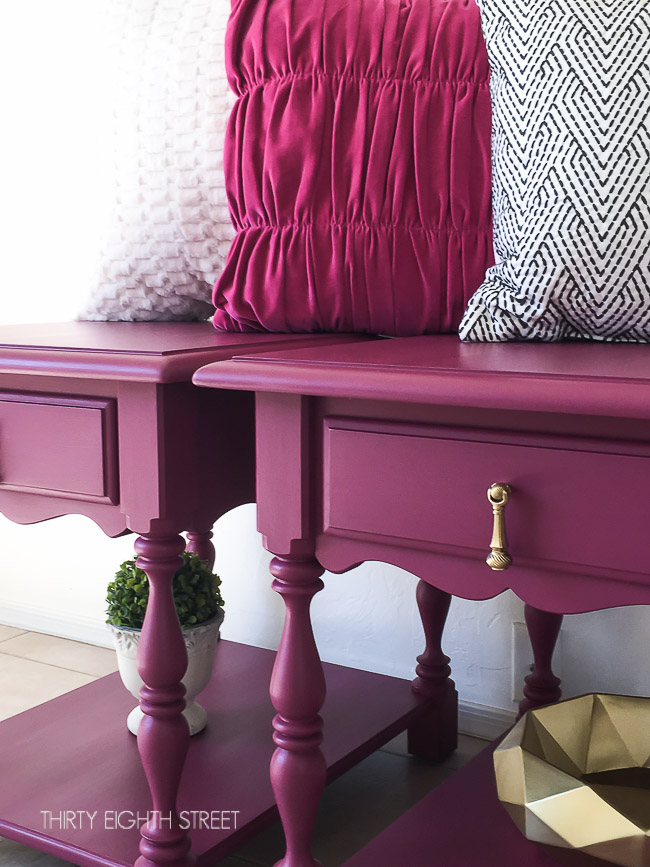 diy nightstands, up cycling furniture, painting tutorial, refurbished nightstands, plum nightstands