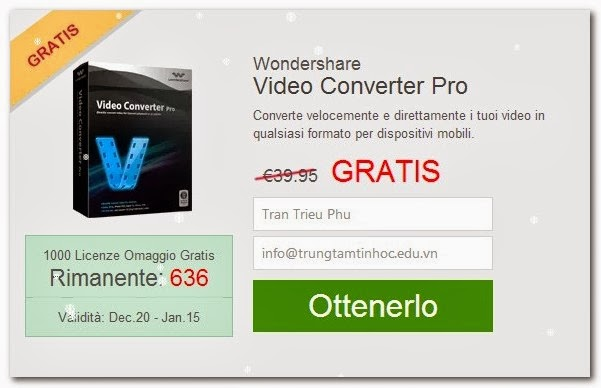 Input your name and your email to get License Wondershare Video Converter Pro