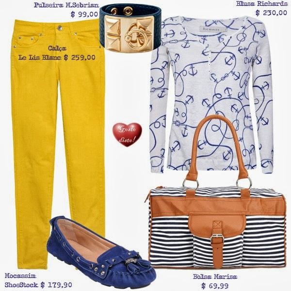 Look navy com amarelo